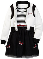 Beautees Butterfly Belted Dress & Bomber Jacket Set (Big Girls)