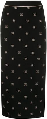 Fendi embroidered Karligraphy motif pencil skirt