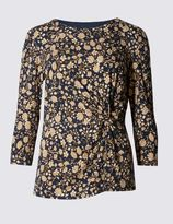Marks and Spencer Printed 3/4 Sleeve Jersey Top