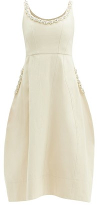 Simone Rocha Faux-pearl And Crystal-embellished Cotton Dress - Cream