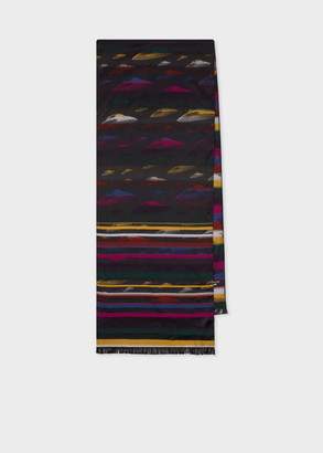 Men's Pink And Yellow 'Flying Saucer' Jacquard Scarf