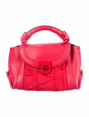 Salvatore Ferragamo Alligator-Trimmed Origami Soft Sofia Bag Red