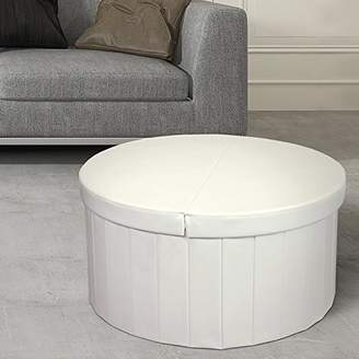 "Otto & Ben 30"" Storage Coffee Table with Smart Lift Top Folding Round Faux Leather Trunk Ottomans Bench Foot Rest"