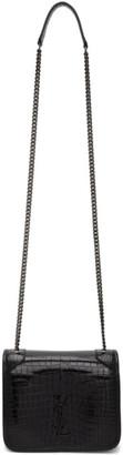 Saint Laurent Black Croc Niki Chain Wallet Bag