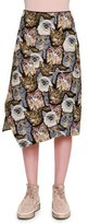 Stella McCartney Cat-Embroidered A-Line Skirt, Black