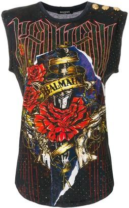 Balmain roses logo T-shirt