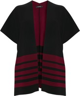 Evans Berry Red Striped Wrap Cardigan