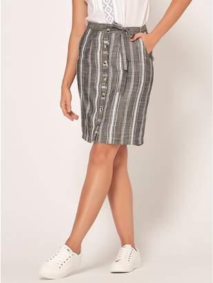 M&Co Petite stripe button front skirt