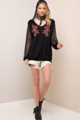People Outfitter Black Fishnet Sleeves Pullover