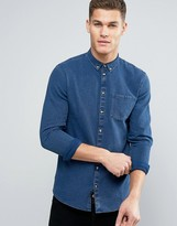 Minimum Oliseo Indigo Denim Shirt Buttondown Slim Fit In Blue