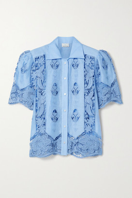 Miguelina Constance Crochet-trimmed Linen Shirt - Light blue