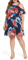 Vince Camuto Plus Size Women's Cold Shoulder Floral A-Line Dress