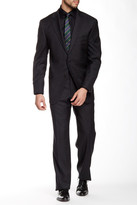 Hickey Freeman Charcoal Windowpane Two Button Notch Lapel Wool Suit