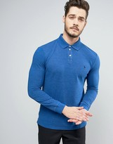 Jack Wills Staplecross Long Sleeve Polo Shirt in Cobalt Marl