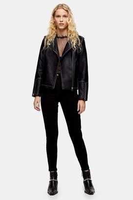Topshop Womens Tall Pure Black Jamie Jeans - Black