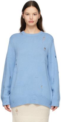 Helmut Lang Blue Wool Distressed Sweater