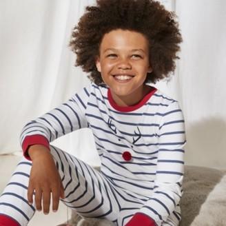 The White Company Jingles Reindeer Pyjamas (1-12yrs), White Blue, 1-1 1/2yrs