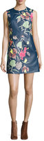 Diane von Furstenberg Floral-Print Leather Sleeveless Shift Dress, Blue Multicolor