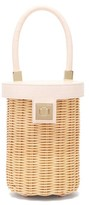 Sparrows Weave - The Cylinder Wicker And Leather Bag - Womens - Light Pink