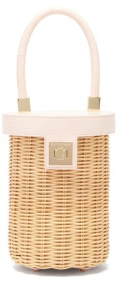 Sparrows Weave - The Cylinder Wicker And Leather Bag - Light Pink