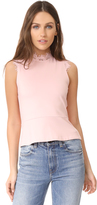 Amanda Uprichard Sleeveless Lace Mock Neck Top