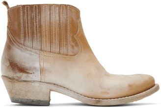 Golden Goose Beige Crosby Faded Boots