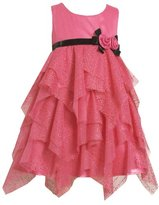 Bonnie Jean Girls 2-6X Glitter Mesh Dress With Hanky Hem