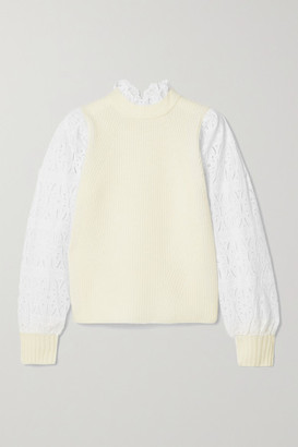 Sea Ribbed Wool And Broderie Anglaise Cotton Sweater - Cream