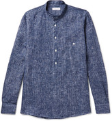Richard James Grandad-Collar Patterned Linen Shirt