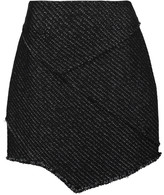 Maje Asymmetric metallic tweed mini skirt