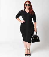 Kiyonna Plus Size Black Half Sleeve Riveting Ruched Dress