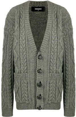 DSQUARED2 Cable-Knit Wool Cardigan
