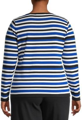 Joan Vass, Plus Size Stripe Knit Sweater