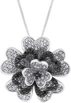 Black Diamond FINE JEWELRY 1/3 CT. T.W. White and Color-Enhanced Sterling Silver Flower Pendant Necklace