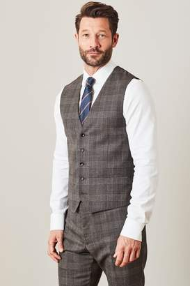 Next Mens Brown T G Di Fabio Signature Check Suit: Waistcoat - Brown