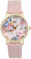 Journee Collection Womens Crystal-Accent Floral Dial Watch