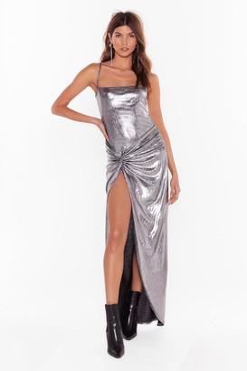 Nasty Gal Womens Square's the Plot Twist Metallic Maxi Dress - Grey - 8