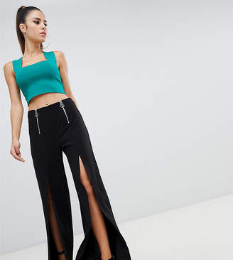 Parallel Lines split front wide leg trousers with zip detail-Black