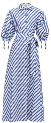 Evi Grintela Iris Fil-coupe Striped Cotton Shirtdress - Womens - Blue Stripe