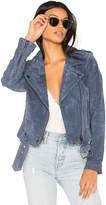 Blank NYC BLANKNYC Suede Moto Jacket in Slate