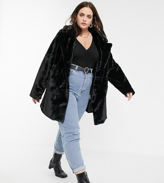 Wednesday's Girl Curve oversized coat in faux fur