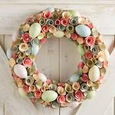"Pier 1 Imports Glittered Eggs & Wood Curl 19"" Wreath"