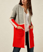 Milan Kiss Women's Open Cardigans GREY-ORANGE - Gray & Orange Contrast-Line Color Block Open Cardigan - Women