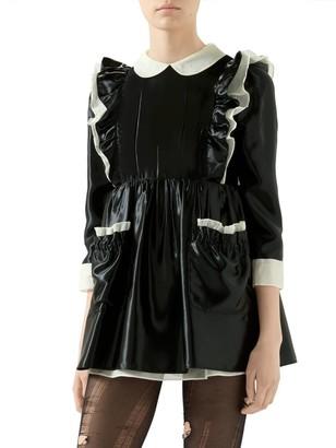 Gucci Satin Ruffle Mini Dress
