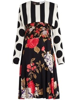 MSGM Floral, polka dot and stripe-print crepe dress