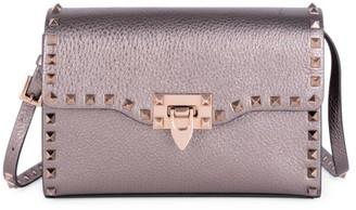 Valentino Small Rockstud Metallic Leather Crossbody Bag