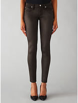 7 For All Mankind Skinny Leather-Like Jeans, Black
