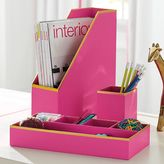 Printed Paper Desk Accessories Set, Solid Carmine Rose With Gold Trim