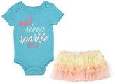 Baby Starters Aqua 'Eat Sleep Sparkle' Bodysuit and Yellow Tutu Skirt - Infant