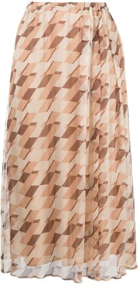 Alysi Geometric-Print Pleated Silk Skirt